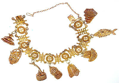 Antique Chinese Import 14k Rose Gold Gilt over Silver 8 Charm Bracelet Bird Cage