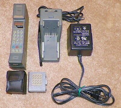 Vintage Nokia P-30A Brick Cell Phone with Charger and Extra Battery.