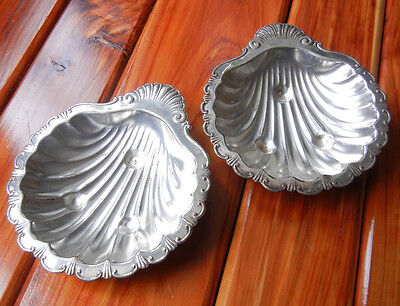 Set of 2 silver plated copper shell shaped sauce gravy boats serving dishes
