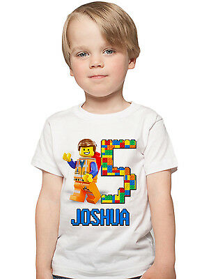 The Lego Movie Birthday Shirt Custom Name and Age Personalized Lego shirt