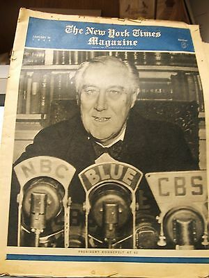 Vintage 1944-Lot of 4 NEW YORK TIMES MAGAZINE, Churchill, Roosevelt, WWII