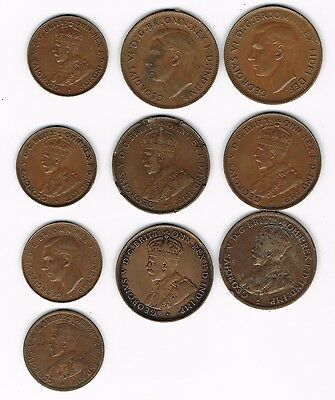 Australian Penny and Haf Penny Lot 1913, 1915, and up.