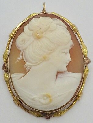 Old 10K Intricately Carved Shell Cameo Brooch Pendant 2-Color Gold Leaf Border