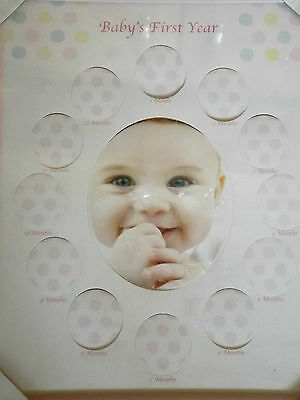 New Baby's First Year Photo Frame Pink Girl