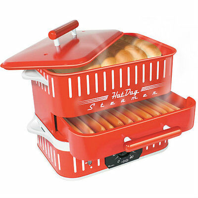 Hot Dog Steamer And Bun Warmer Red Electric Warmer Timer Commercial Kitchen