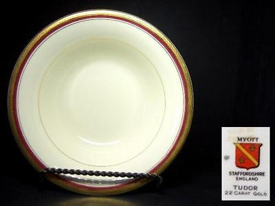 Myott Tudor Gold Encrusted Large Serving Bowl - Hw720 Burgundy Red