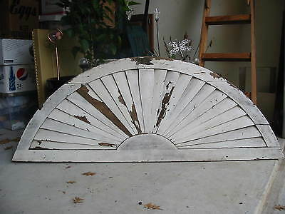 "Antique/Vintage Sunburst Texas Wood  Attic Gable Louver Vent  63""x24"