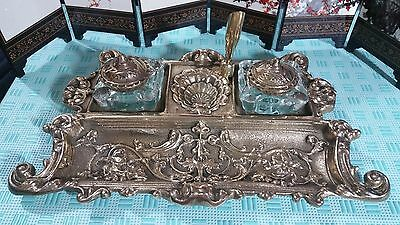 Vintage Antique Rare Solid Heavy Brass Double Glass Pots Inkwell With Pen Holder