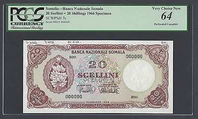 Somalia 20 Shillings 1966 P7s Specimen Perforated Uncirculated