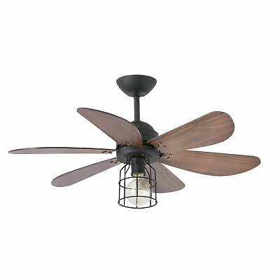 """Faro ceiling fan Chicago Black & Walnut 91.5cm 36"""" with light and remote control"""