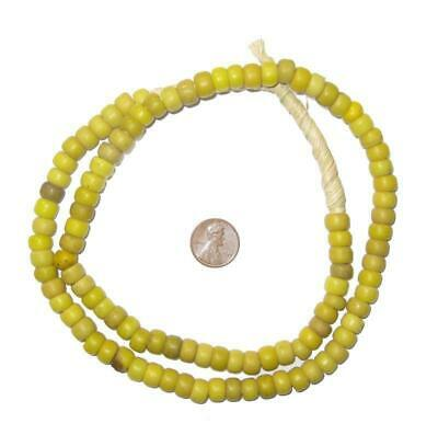 Yellow Padre Beads 9mm Ethiopia African Round Glass Large Hole 27 Inch Strand