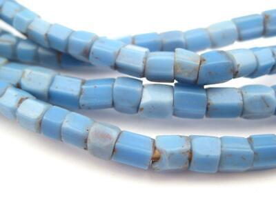 Old Blue Bamako Glass Beads 5mm Nigeria African Cylinder Large Hole Handmade