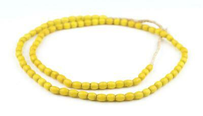 Antique Yellow Hebron Kano Beads 18mm Sudan African Cylinder Glass Large Hole