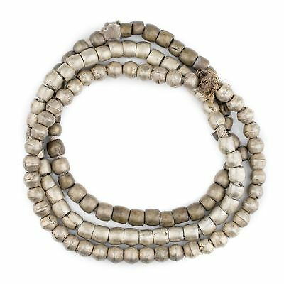 Vintage Ethiopian Silver Padre Beads 8mm African Round White Metal Large Hole
