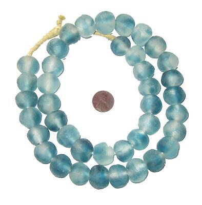 Blue Wave Marine Recycled Glass Beads 18mm Ghana African Sea Glass Round