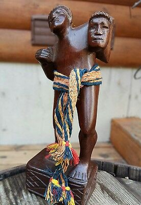 "Vintage Wood Carved Headhunter Tribal Warrior Statue 6"" Primitive Indigenous Art"