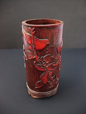 Old Chinese Bamboo Carved Red Brush Pot Pencil Vase Birds and Flowers Marked