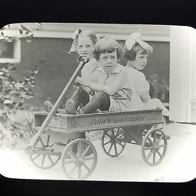 Antique Magic Lantern Glass Slide Group Of 3 Girls In Auto Wheel Coaster