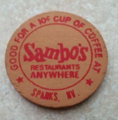 Vintage Sambos Sparks, Nevada Wooden Nickel 1 Good for $.10 Cup Coffee!
