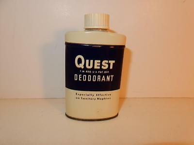 Vintage Quest Deodorant Tin Powder 1930S Old Advertising Metal
