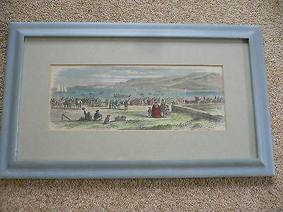 Hand Coloured Engraving c.1859 1st Exmouth Lifeboat Lauching