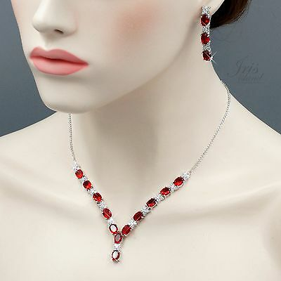 White Gold Plated Ruby Cubic Zirconia Necklace Earrings Wedding Jewelry Set 5223
