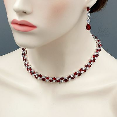 White Gold Plated Ruby Cubic Zirconia Necklace Earrings Wedding Jewelry Set 5252