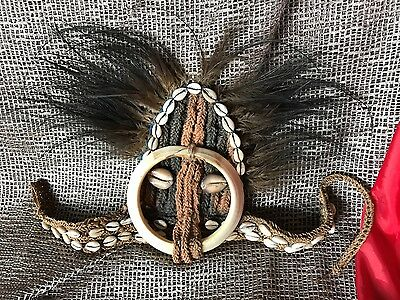 Old Papua New Guinea Highlands Headdress with Cassowary Feathers, Pig, & Cowrie