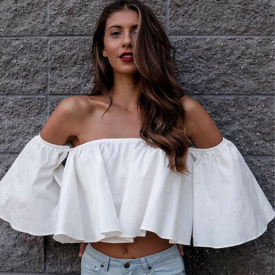 Women Off Shoulder Strapless Tops Blouse Boho Long Sleeve Casual Loose T-Shirt