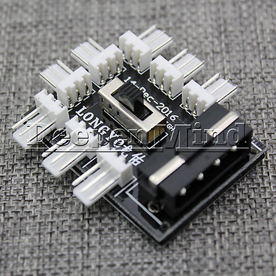 Computer PC IDE 8x3Pin Fan Speed Regulator Switch Controller HIGH/LOW/STOP 3 Way