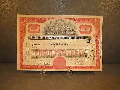 1945 United Cigar-Whelan Stores Antique Stock Certificate - FREE SHIPPING !!