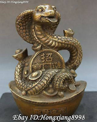 "8"" Marked Bronze Fengshui Zodiac Year Snake Snakes Wealth Yuan Bao Money Statue"