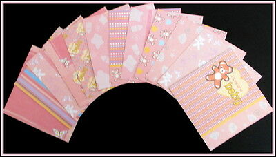 "*PRETTY IN PINK* Baby Girl Scrapbooking/Cardmaking Papers- 15cm x 15cm  (6""x 6"")"