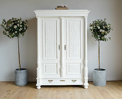 Vintage Continental Shabby Chic Double Wardrobe Armoire Painted in Farrow & Ball