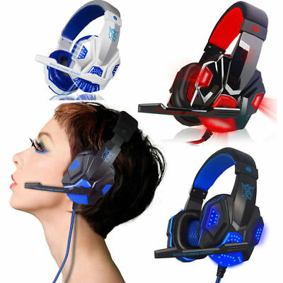 LED Stereo Bass Gaming Headphones Headset Microphone for PC Laptop Game Blue Red