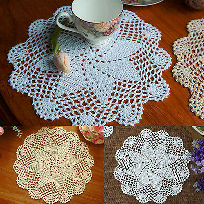 1/4pc Cotton Hand Crochet Lace Doily Doilies Place Mat Coaster Round White Beige