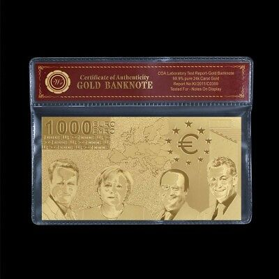 999 Gold **€1000* Euro Bank Note Banknote Money Certificate of Authenticity COA