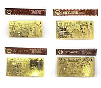 £5, £10, £20, £50 24K Gold  Note Banknote Money Certificate of Authenticity COA