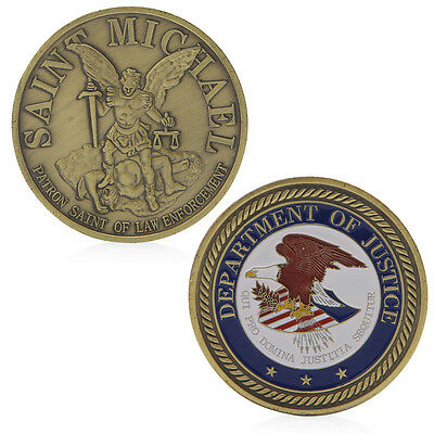 Saint Michael Department Of Justice Commemorative Challenge Coin Collection Art
