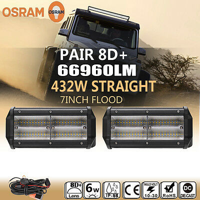 2x 7inch 432W LED Work Light Bar Flood Beam Offroad 4WD Fog SUV Driving Lamps