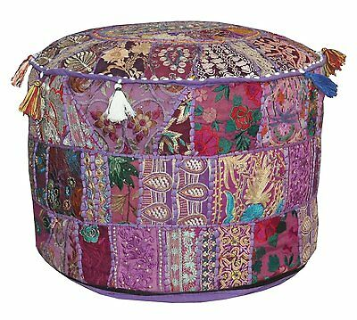 Pouf Ottoman Round Poof Pouffe Foot Stool Indian Floor Pillow Ethnic Cover
