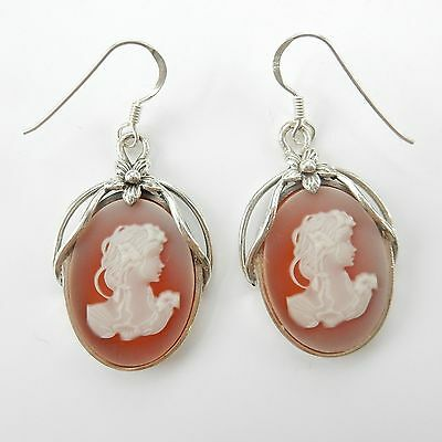 Sterling Silver Carved Cameo Lady Droplet Earrings Hallmarked