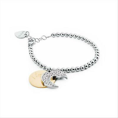 Bracciale Donna S'Agapò Fortune SFO18 Acciio Sfere Luna I Love You Cerchio Oro