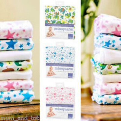4 x 100% Cotton Muslin Squares Burp Clothes/Nursing Cover, Swaddle