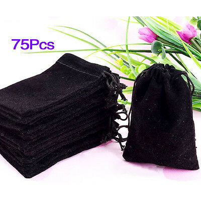 75X Black Velvet Drawstring Jewelry Gift Bags Pouches HOT BF