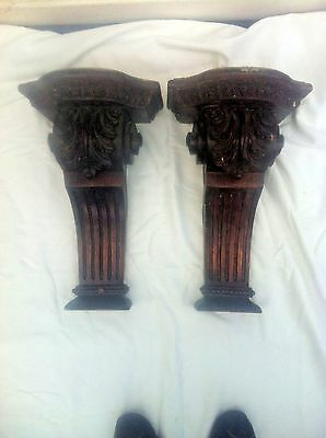 A PAIR 2 HUGE RECLAIMED ANTIQUE CARVED WOODEN WALL BRACKETS CORBELS    39 cm