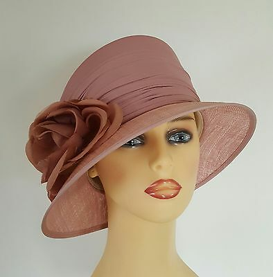 Ladies Wedding Hat Races Mother Bride Ascot Dusty Rose Pink Fully Lined