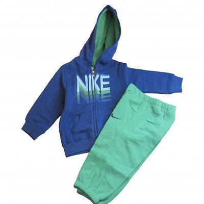 Nike Infants little boys fleece blue green warm hooded full jogger tracksuit set