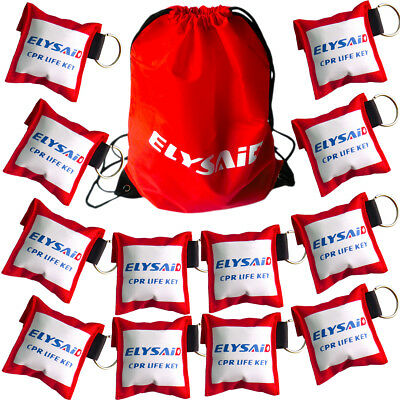 100 Pices Elsyaid First Aid CPR Face Shields CPR Mask + Gloves In Keychain Bag