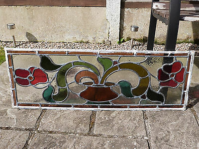 Vintage Stained Glass Leaded Window Panel
